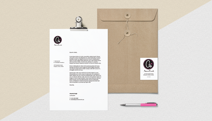 Amore Events stationary